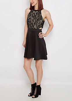 Lace Cut-Out Party Dress