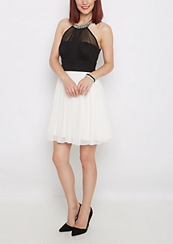 Pearly Chiffon Party Dress