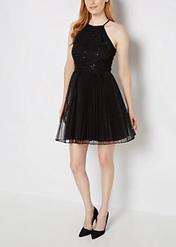 Black Swirling Sequin Tulle Mini Dress