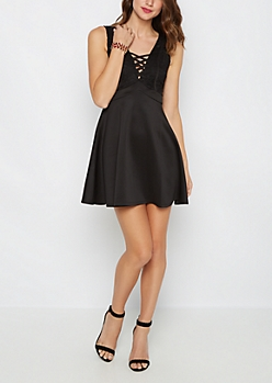 Black Lace Criss Cross V Neck Skater Dress