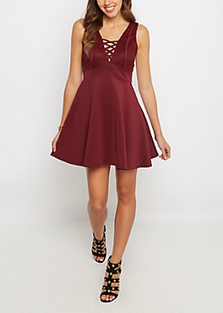 Burgundy Lace Criss Cross V Neck Skater Dress