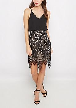 Blousant & Eyelash Lace Bodycon Dress