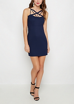 Cross Caged Front Bodycon Dress