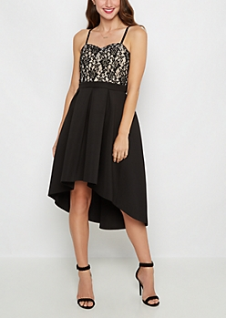 Black Lace Pleated Cocktail Dress