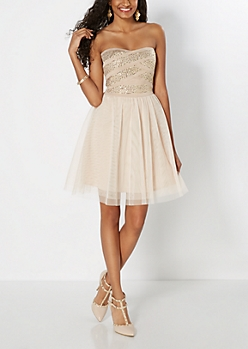 Bedazzled Bandaged Tulle Dress