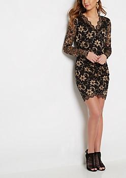 Surplice Gold Lace Bodycon Dress
