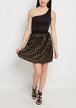 One-Shoulder Golden Pleated Dress