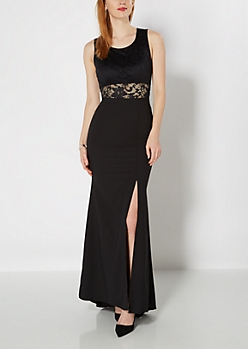Black Crepe Formal Dress