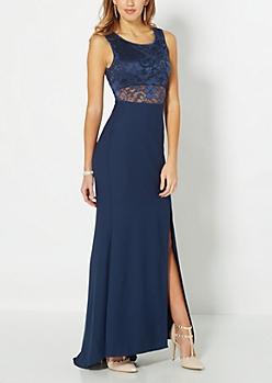 Navy Crepe Formal Dress
