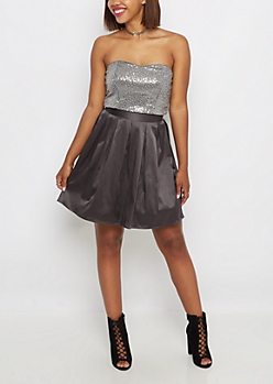 Gray Sequined Crop Tank & Organza Skirt Set