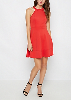 Red Paneled High Neck Skater Dress