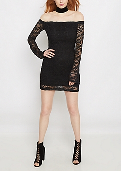 Sparkling Lace Off Shoulder Bodycon Dress