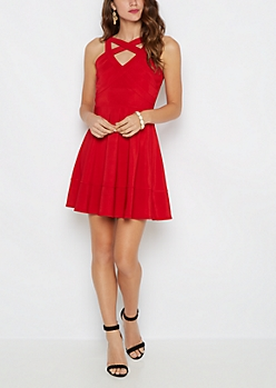 Red Criss Cross Caged V Neck Skater Dress
