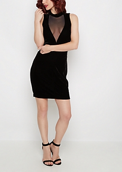 Velvet V-Cut Bodycon Dress