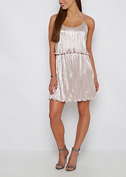 Pink Pleated Flounce Dress