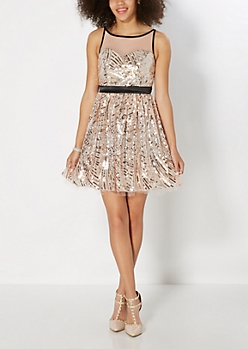 Rose Gold Sequined Party Dress