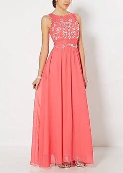 Illusion Jeweled Vine Prom Gown