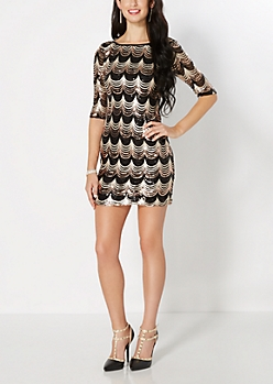 Gold Scalloped Sequined Bodycon Dress