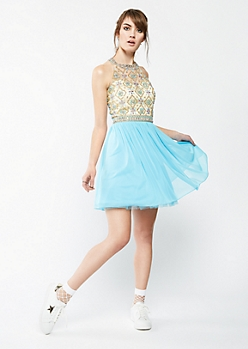 Turquoise Floral Stone Illusion Dress