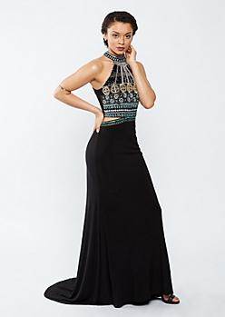 Bejeweled Split Waist High Neck Prom Dress
