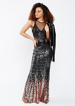 Ombre Sequins Split Waist Prom Dress