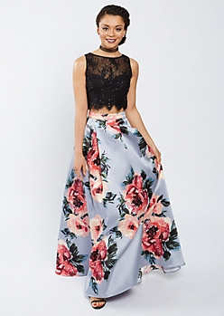 Sequined Lace Tank & Floral Maxi Skirt Set