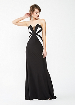 Color Block Illusion Tube Prom Dress