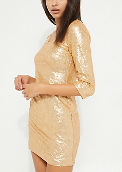 Gold Sequin Keyhole Dress