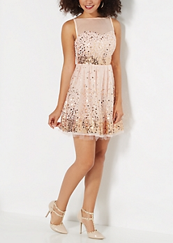 Peach Waterfall Sequined Mesh Party Dress