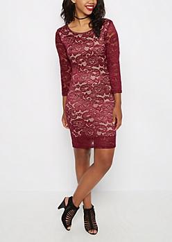 Burgundy Lace Bodycon Dress