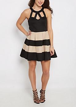 Tan Striped Sparkle Caged Skater Dress
