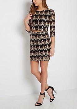 Sequined Crop Top & Skirt
