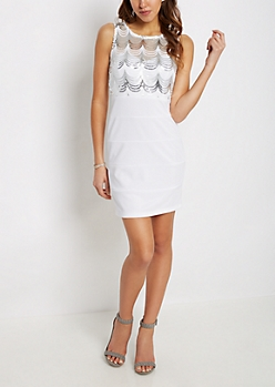 Silver Sequined Bodycon Dress