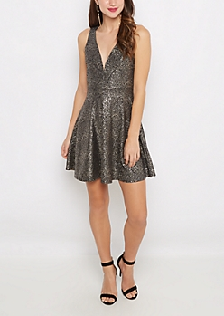 Gold Fleck V-Neck Party Dress