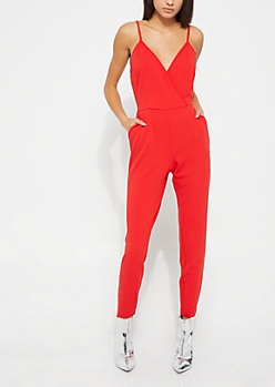 Red Surplice Sleeveless Jumpsuit