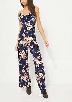 Navy Ruffled Floral Jumpsuit