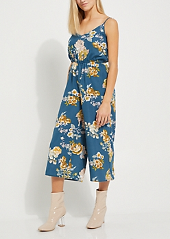 Teal Floral Wide Leg Jumpsuit