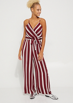 Burgundy Striped Surplice Jumpsuit