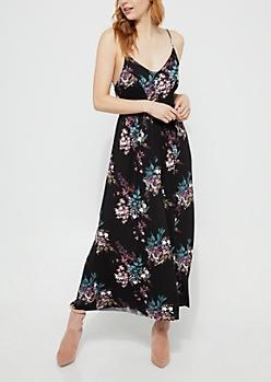 Black Floral Wide Leg Jumpsuit