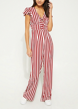 Red Striped Knot Front Jumpsuit