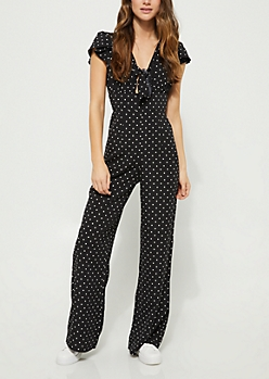 Black Polka Dot Knot Front Jumpsuit