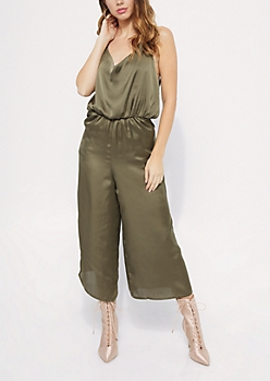 Olive V Neck Sleeveless Satin Jumpsuit