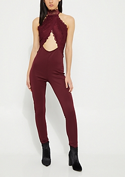 Burgundy Lace Cutout Halter Jumpsuit
