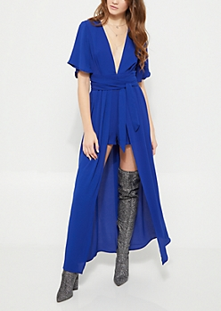 Royal Blue Belted V Neck Maxi Romper
