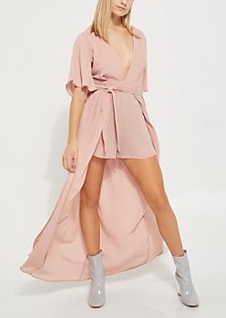 Pink Belted V Neck Maxi Romper