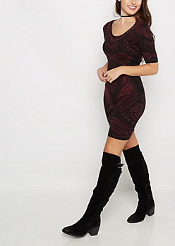 Burgundy Jacquard Bodycon Sweater Dress