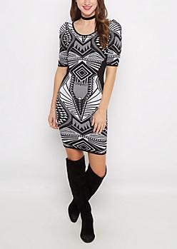 Black Jacquard Bodycon Sweater Dress