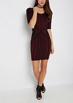 Burgundy Geo Tribal Sweater Dress