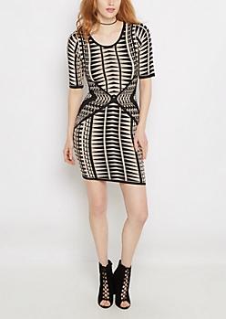 Ivory Geo Tribal Sweater Dress
