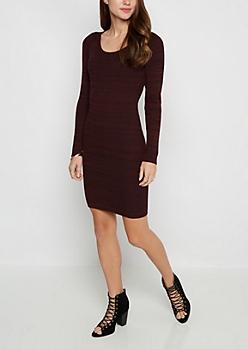 Burgundy Marled Sweater Dress